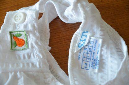 Salopette vintage 6 mois à motif de petite poire, marque Natalys