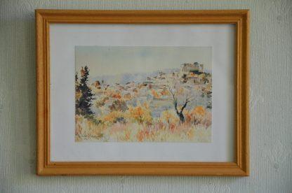 Petit cadre en bois clair, reproduction de paysage signé Michèle Gondinet