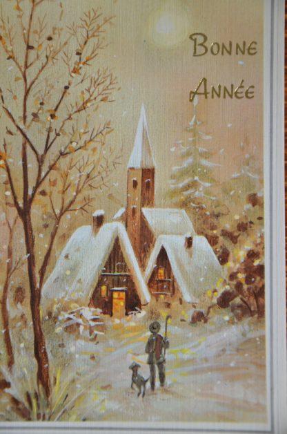 """Lot de 2 cartes postales de """"bonne année"""", carte vintage. Motif de village illuminé sous la neige."""