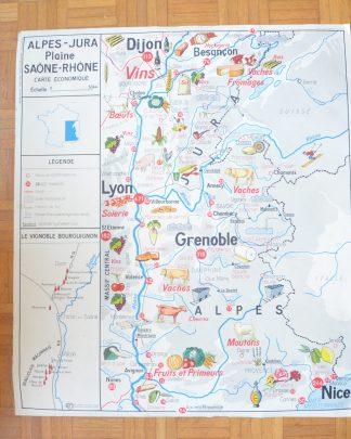 Carte économique, tableau 16, Alpes-Jura, Plaine Saône-Rhône. Carte économique, tableau 15, Bassin Aquitain et Pyrénées. Imprimerie George Lang, Paris, La maison des instituteurs