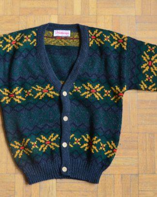 Gilet en laine vintage pour enfant, le Printemps, Paris. Couleur grise, fond vert, motif jaune, rouge et noir