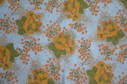 Taie de traversin blanche vintage à fleur orange et jaune, feuilles vertes