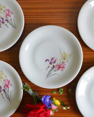 Lot de 6 assiettes manufacture Bavaria, modèle Iris de Vercor, importé d'Allemagne. Une assiette fait 17.5 cm de diamètre.