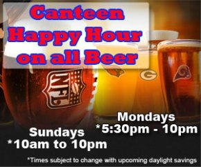 Football Happy Hour Beer Prices & Auxiliary Lunch Special @ Post Canteen