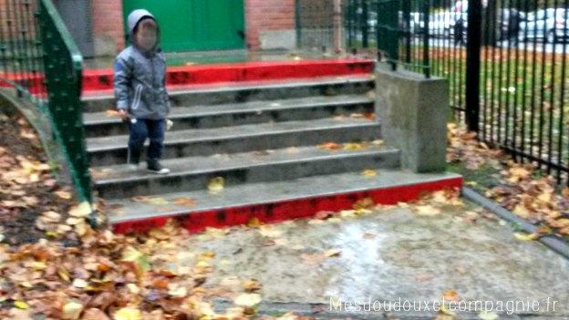 manteau okaidi sous la pluie