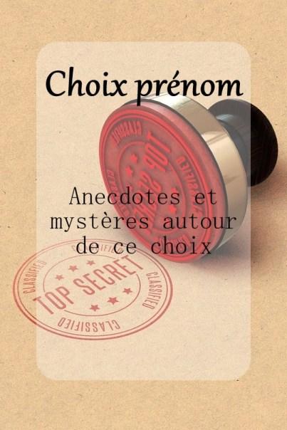 choix d'un prénom mystères et anecdotes