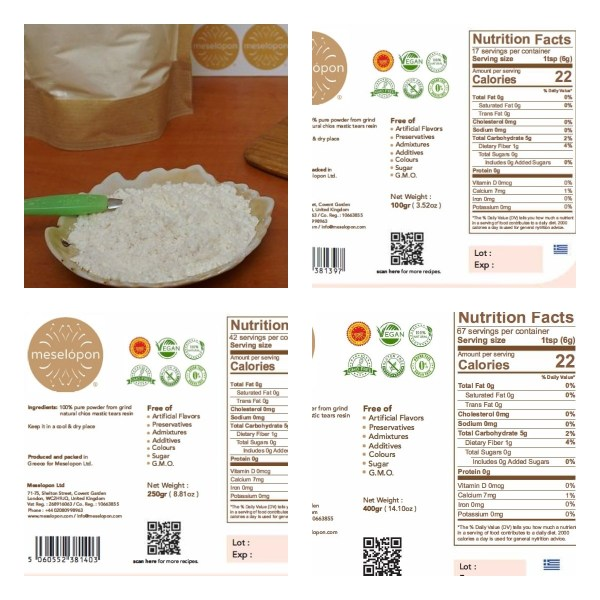 Chios Mastic Gum Mastiha Powder Pure Unprocessed Unrefined For Stomach Disorders, Digestive System, Pastry, 100-250-400gr Nutrition Label