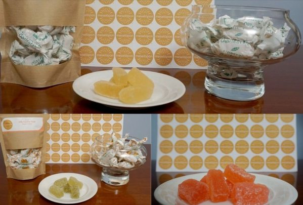 Greek Traditional Jelly Candies Treat In 3 Flavors Rose Bergamot & Chios Mastic From Athens