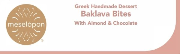 Handmade Baklava Layered Pastry Dessert Sweet Bites With Almond & Topping Chocolate, Label