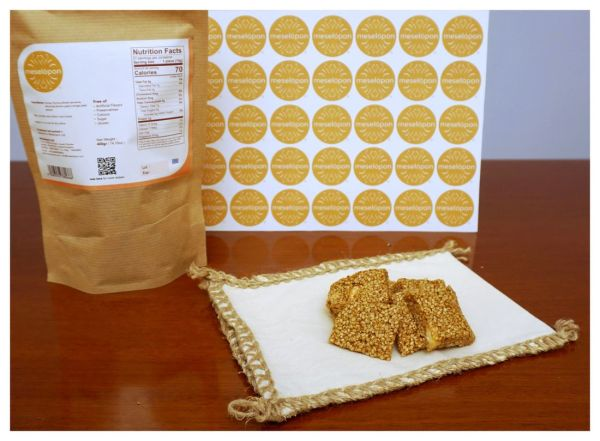 Handmade Nutrition Pasteli, Sesame Seed Candy, Energy Snack Bar Bites With Honey, Ingredients
