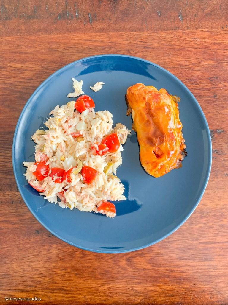 Empanadas et salade de riz