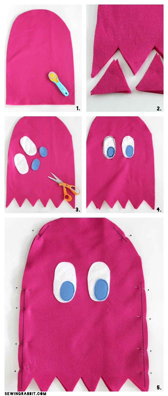 Pac Man Costume Diy : costume, Pac-Man, Ghost, Costume, Sewing, Rabbit