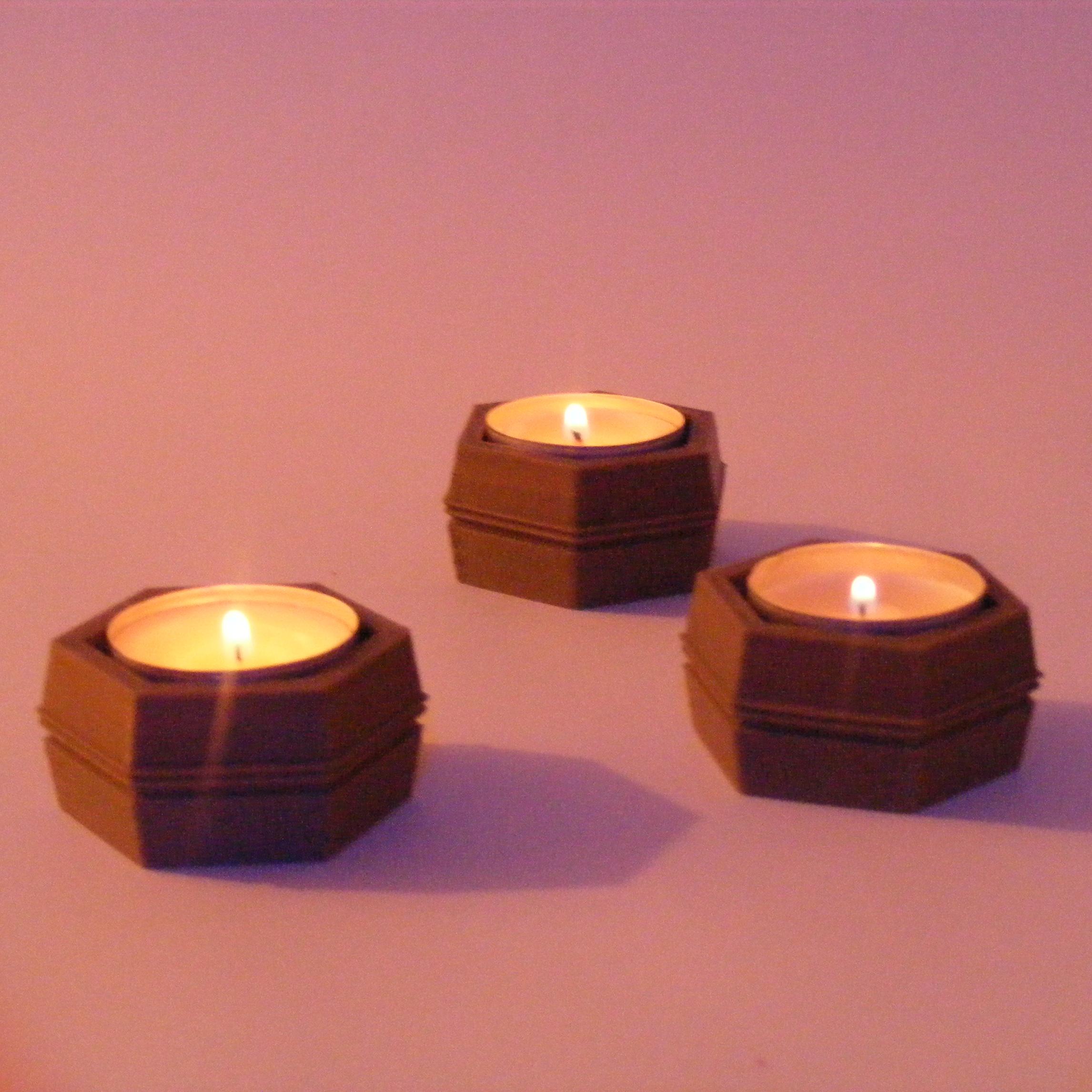 Hex Tea Light Holders  modern 3d printed hexagon candle