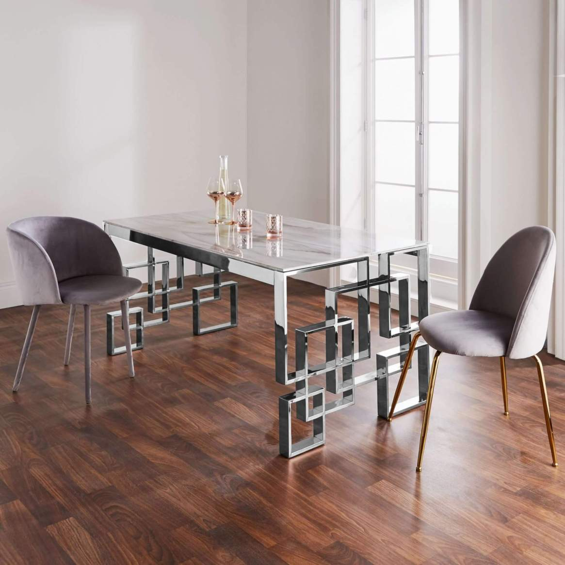 Marble Silver Dining Table
