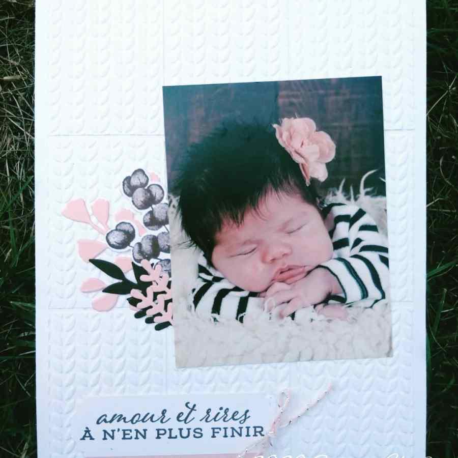 Page de scrap bébé fille rose et marron