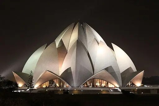 night view of lotus temple