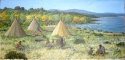 Mesolithic Life in Orkney as imagined by Dominic Andrews