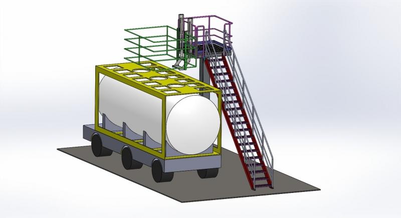 Tanker Yükleme endüstriyel Platformu, teleskopik yükseklik ayarlı, pnömatik pistonlu, 3D model