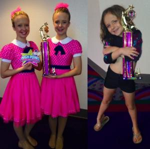 Local twins, Maddie and Kenzie Gorman, left, took first place and high-point awards at a competition in Las Vegas last weekend. Their sister, Brynley, also took first place for her jazz solo. Submitted Photo.