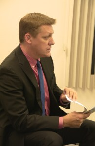 Wolf Creek Golf Club attorney Donald Polednak presents amendments to VVWD board. Photo by Burton Weast.