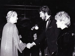 Grace Kelly (L) greets Brian Russell and Cheryl Ladd in 1981. Photo provided by publicist.