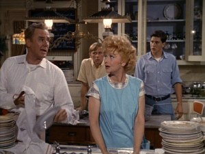 Screen shot from Yours Mine and Ours. Van Johnson (L), Lucille Ball, and Tim Matheson (R)
