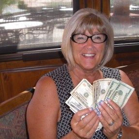 Sandra Ramaker was the big winner Wednesday at the Dames' Luncheon, winning half of the 50/50 money pot. Joann Beeny was the lucky winner of the other half. Submitted photo.