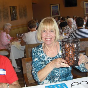 Anne Hunt shows off her winnings from the afternoon's bingo session. Submitted photo.