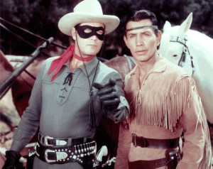 Clayton Moore and Jay Silverheels in publicity photo for the Lone Ranger