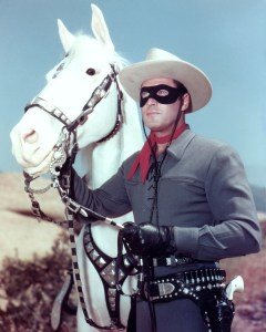 Clayton Moore and Silver in publicity photo for the Lone Ranger