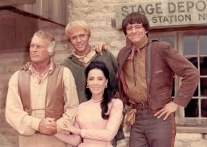 2. High Chaparral Cast photo - Leif Erickson,  Mark Slade, Henry Darrow and Linda Cristal,