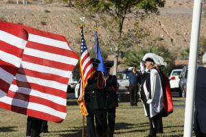 Mesquite Fire Department Honor Guard assisted by the Knights of Columbus present the Colors prior to the closing of 'One Thousand Flags over Mesquite'. Photo by Lou Martin