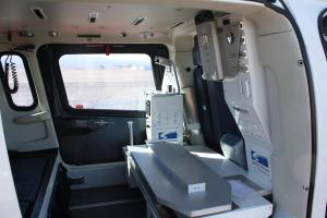 Interior medical area of the new Agusta helicopter recently delivered to Mercy Air Mesquite branch. Photo by Lou Martin.