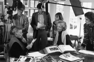 David Heeley (center) and Joan Kramer (right) with Katharine Hepburn and Susie Tracy preparing to shoot for Spencer Tracy program