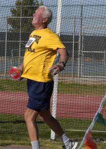 Mesquite resident Jack Anderson gave it all he had in the Men's Discus. Photo by Burton Weast