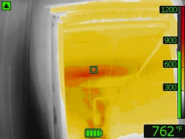 This is an image of the thermal readings Capt. John Gately received while monitoring the fire during the simulation. At this point, the temperature inside of the structure read 762 degrees.  Photo courtesy of MFD.