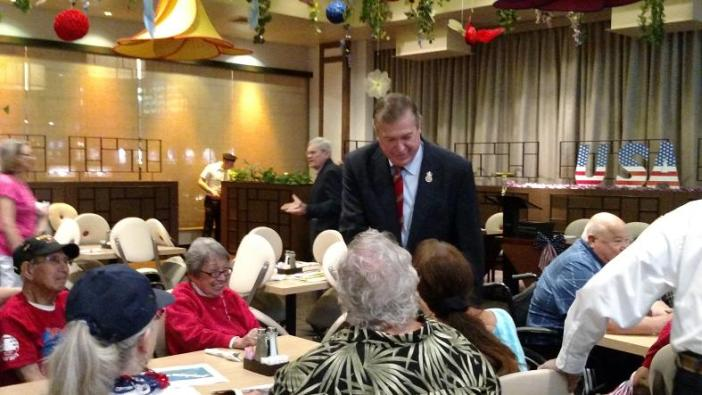 Congressman Cresent Hardy was in town for the day, honoring Mesquite's WWII Veterans at their special breakfast sponsored by the Eureka and the Mesquite Veterans Center. Photo by Stephanie Frehner.