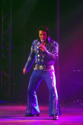 Tribute Artist Dave Hoover took home a trophy and a check for $2,000 as the second place winner of the 2015 Elvis Rocks Mesquite Competition. Photo by Teri Nehrenz.