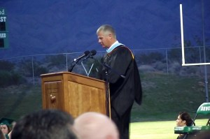 Virgin Valley High School Principal Cliff Hughes gives a heartfelt introduction to the parents, teachers and especially to the students who have walked his hallways for the past 7 years to begin the 2015 commencement ceremony. Photo by Teri Nehrenz.