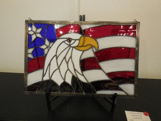Linda Birks' stained glass, American Proud. Photo by Linda Faas.