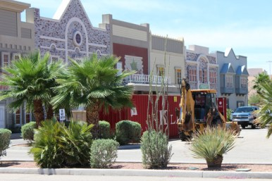 Dumpsters, trucks and heavy equipment are a positive sign of the re-vitalization of the Mesquite Star that has been an eyesore in the city for more than a decade. Photo by Barbara Ellestad.