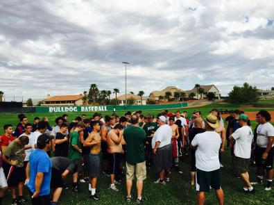 Coach Yori Ludvigson and staff giving instructions to VVHS football hopefuls during practice session on August 11. Photo courtesy of Nick Montoya.