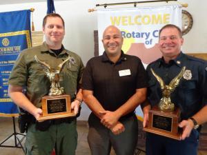 From left to right are K9 Officer Quinn Averett, Rotary President Keith Buchhalter and Firefighter/EMT Ryan Thornton. Courtesy photo.