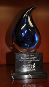 Mesa View Regional Hospital was recognized by the Nevada Donor Network as 2015's 'Most Collaborative Hospital' in the state. Photo by Barbara Ellestad.