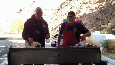 Tyler Black, also known as Mongo, and Mike Gleeson took first watch over the smoking hot grill Saturday morning at Fire Station #3 for their pancake breakfast. Photo by Stephanie Frehner.