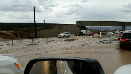 This was the scene Sunday evening on I-15 near Hwy 93 and the Loves Truck Stop. Photo courtesy of Craig Brandes/Post to MLN Facebook Page