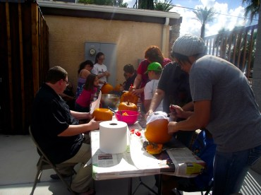 Actually carving the pumpkins was something that was kept to a family activity to ensure the safety of everyone during the Virgin Valley Heritage Museum's pumpkin carving event on October 17.  The event was open to everyone and free to the public. Kids were busy scooping out gooey gobs of pumpkin guts while the parents carved the design in the pumpkins. Photo by Teri Nehrenz.