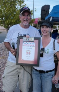 Chili Cook Off winner Bonnie Hexum receives her plaque after show attendees selected her chili as the best at the annual Rotary Car Show and Chili Cook-off hosted by the Eureka Casino Resort on Saturday, Oct. 24. Photo by Burton Weast.