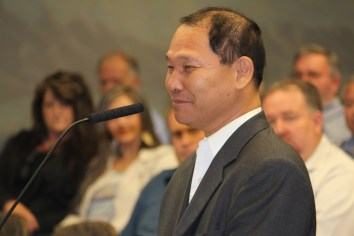 Bill Takahashi addressed the Mesquite City Council on Tuesday, Oct. 27 asking them to remove Special Improvement District financing agreements from the Solstice luxury motor home RV Park so he can purchase the property out of bankruptcy. Photo by Barbara Ellestad.