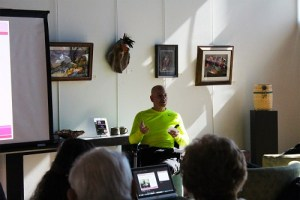 Dave Zeleniak presented a well delivered Brown Bag luncheon topic on Growing Roses in the Desert at the Mesquite Fine Arts Gallery on Tuesday Feb. 2. Photo by Teri Nehrenz.